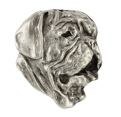 French Mastiff Silver Plated Lapel Pin