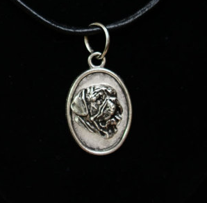 French Mastiff Silver Plated Pendant