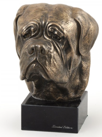 French Mastiff Statue on a Marble Base