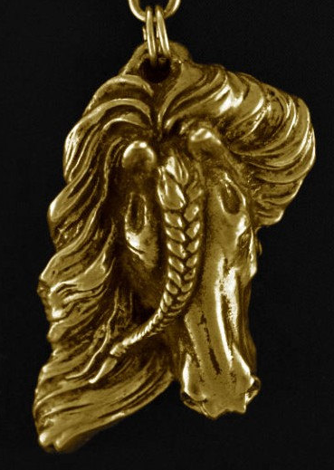 Fresian Horse Hard Gold Plated Pendant