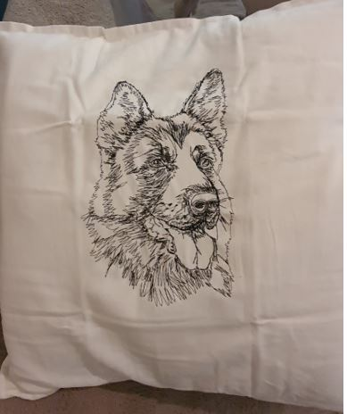 Stunning German Shepherd Embroidered Cushion Cover