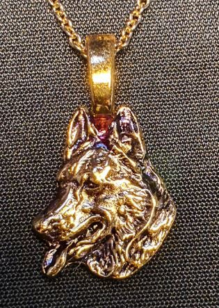 German Shepherd Head Mini Gold Plated Pendant.