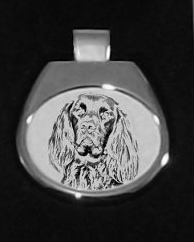 German Longhaired Pointer Silver Plated White Pendant