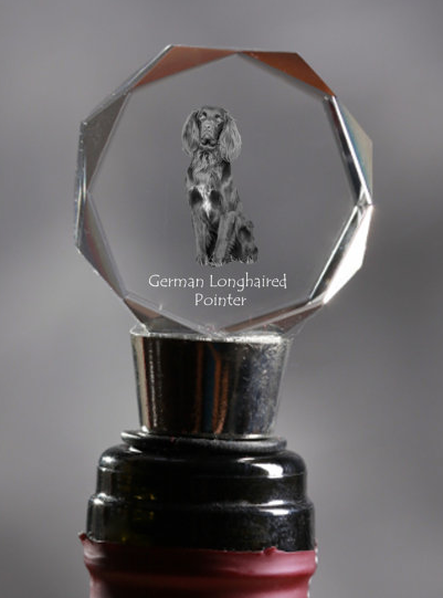 German Longhaired Pointer Crystal Wine Stopper
