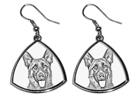 German Shepherd Silver Plated Earrings