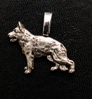 German Shepherd Small Full Body Silver Plated Mini Charm
