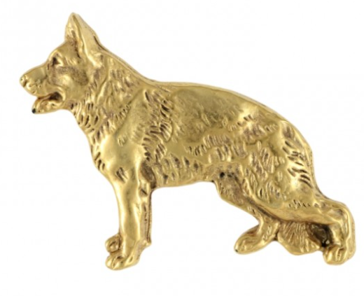 German Shepherd Full Body Hard Gold Plated Lapel Pin