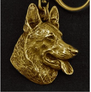 German Shepherd Hard Gold Plated Key Chain