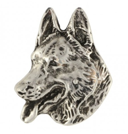 German Shepherd Silver Plated Lapel Pin