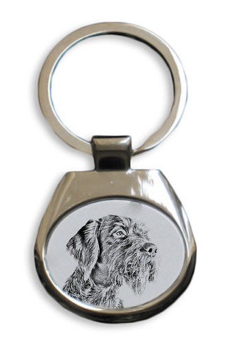 German Wirehaired Silver Plated White Key Ring