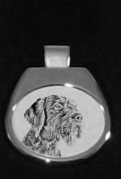 German Wirehaired Pointer Silver Plated Pendant