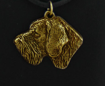 German Wirehaired Pointer Hard Gold Plated Pendant
