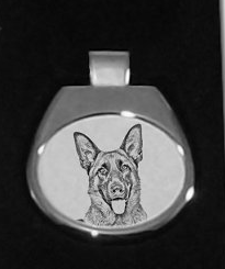 German Shepherd White Pendant