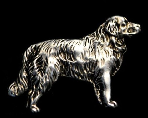Golden Retriever Full Body Silver Plated Lapel Pin