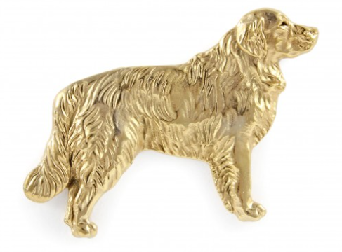 Golden Retriever Full Body Hard Gold Plated Lapel Pin