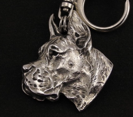 Great Dane Silver Plated Key Chain Cropped Ears