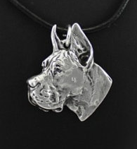 Great Dane Silver Plated Pendant Cropped Ears