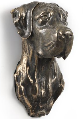 Great Dane Wall Hung Statue Natural Ears