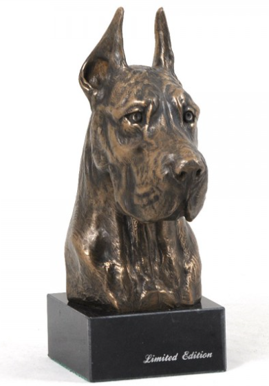 Great Dane Statue Marble Base Cropped Ears