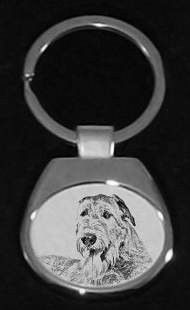Irish Wolfhound Silver Plated White Key Ring