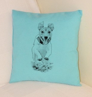 Jack Russell Pillow Pale Blue