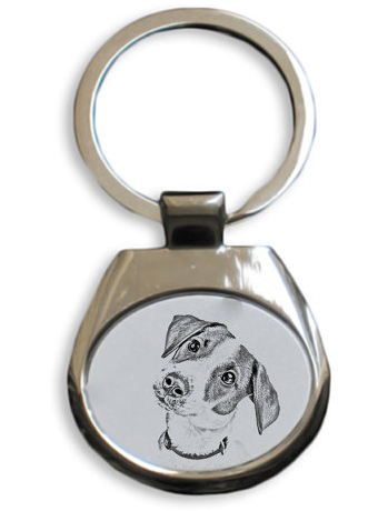 Jack Russell White Key Ring