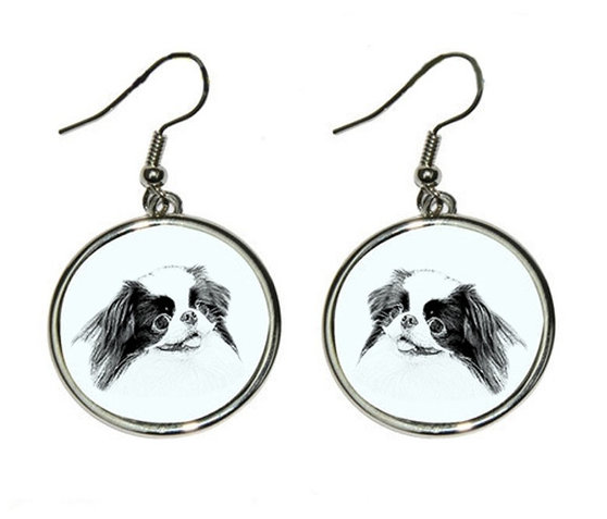 Japanese Chin Silver Plated Earrings