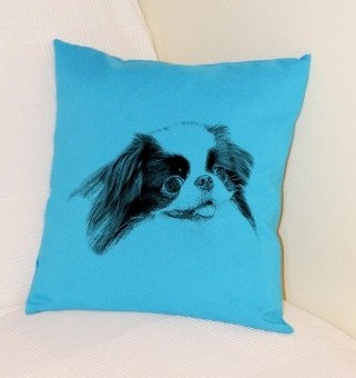 Japanese Chin Pillow Bright Blue