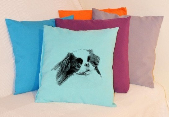 Japanese Chin Pillow Pale Blue