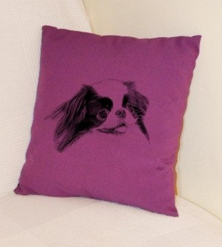Japanese Chin Pillow Purple
