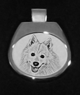 Japanese Spitz Silver Plated White Pendant