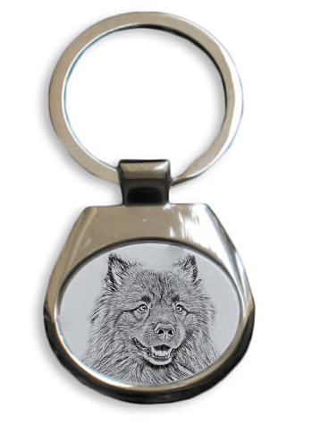 Keeshond White Key Ring