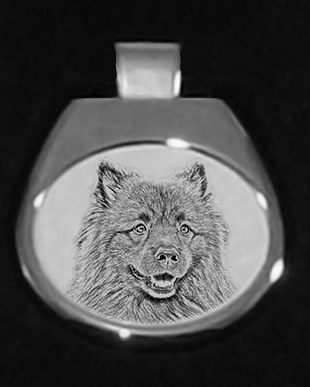 Keeshond Silver Plated White Pendant