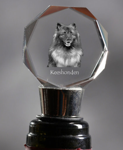 Keeshond Crystal Wine Stopper