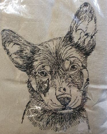 Kelpie Puppy Embroidered Cushion Cover