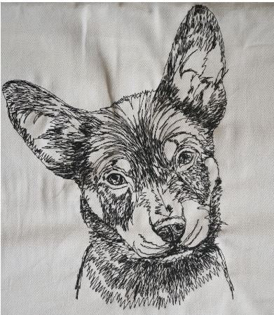 Australian Kelpie Puppy Cream Embroidered Cushion Cover