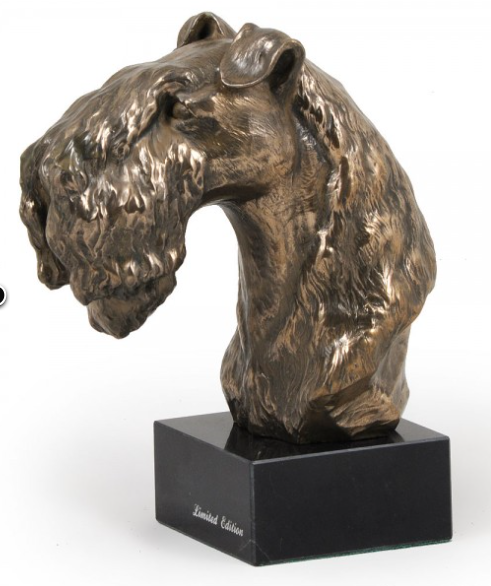 Kerry Blue Terrier Statue on a Marble Base
