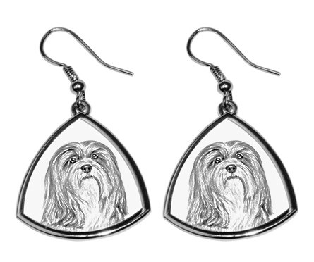 Lhasa Apso Silver Plated Earrings