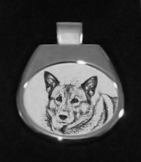 Norwegian Elkhound Silver Plated White Pendant
