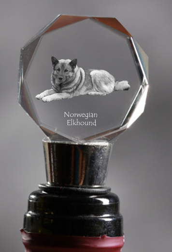 Norwegian Elkhound Crystal Wine Stopper