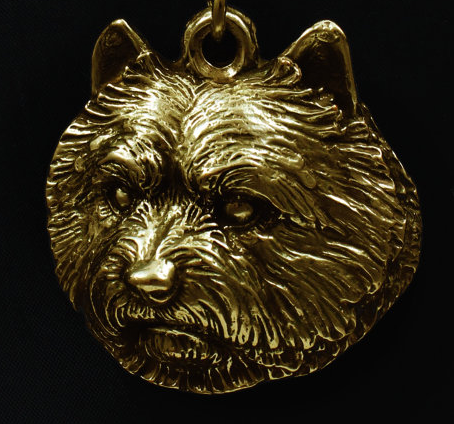 Norwich Terrier Hard Gold Plated Pendant