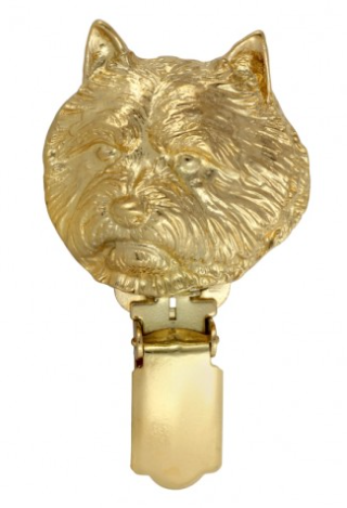 Norwich Terrier Hard Gold Plated Show Clip