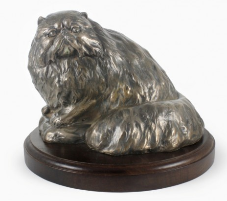 Persian Cat Statue on a Wooden Base