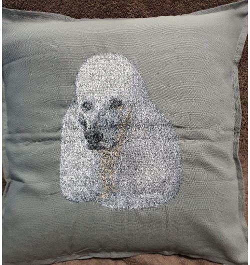 Poodle Coloured Embroidered Grey Cushion Cover