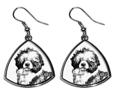 Portuguese Water Dog Silver Plated Earrings