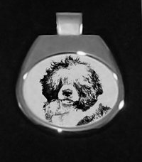 Portuguese Water Dog Silver Platted Pendant