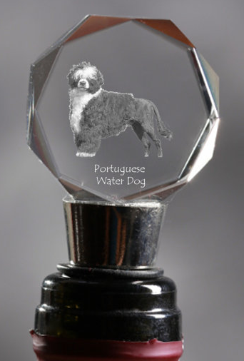 Portuguese Water Dog Crystal Wine Stopper