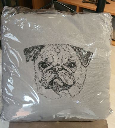 Pug Embroidered Grey Cushion Cover
