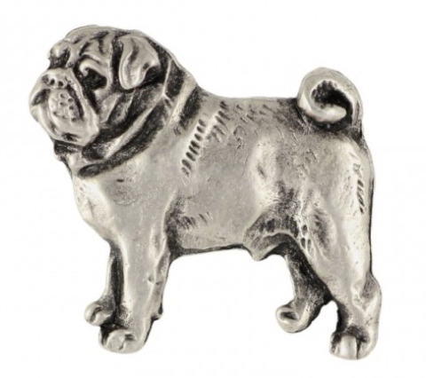 Pug Sliver Plated Lapel Pin