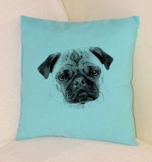 Pug Pillow Pale Blue